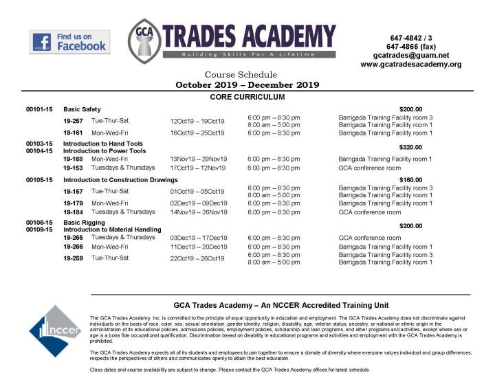 GCA Trades Academy Course Schedule October 2019 – December 2019 is now available!