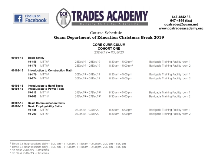 Guam Department of Education Christmas Break 2019 Course Schedule is now available!