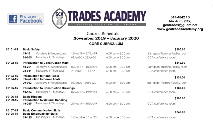 GCA Trades Academy Course Schedule November 2019 – January 2020 is now available!