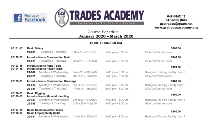 GCA Trades Academy Course Schedule January – March 2020 now available!