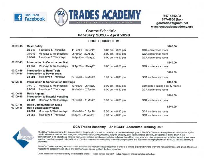 GCA Trades Academy Course Schedule February – April 2020 nowavailable!