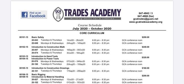 GCA Trades Academy Course Schedule July – October2020!