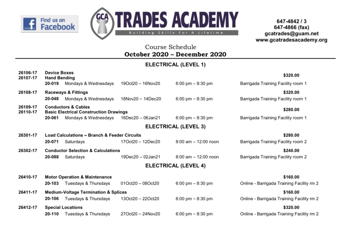 GCA TRADES ACADEMY COURSE SCHEDULE OCTOBER – DECEMBER 2020!