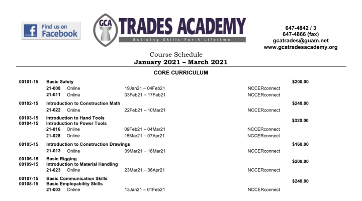 GCA Trades Academy Course Schedule January 2021 – March 2021
