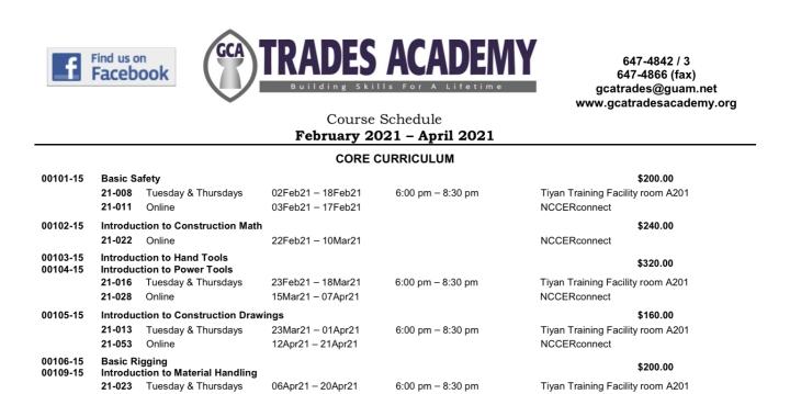 GCA TRADES ACADEMY COURSE SCHEDULE FEBRUARY 2021 – APRIL2021