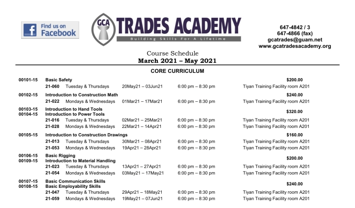 GCA TRADES ACADEMY COURSE SCHEDULE MARCH – MAY2021